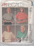 VINTAGE~McCALLS~ 8964~ LADIES TOP MISS SIZE~M