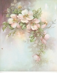 Click here to enlarge image and see more about item AMES17: VINTAGE~SONIE AMES~PINK WILD ROSES~1 PAGE