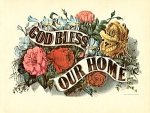 Click here to enlarge image and see more about item CI006: CURRIER AND IVES GOD BLESS OUR HOME