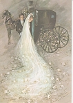 Click here to enlarge image and see more about item CP01A: WEDDING PICTURE~BRODE~GROOM`HORSE AND BUGGY