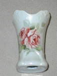 Click here to enlarge image and see more about item HATP1: Hatpin Holder Porcelain Roses & Leaves