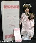 Click here to enlarge image and see more about item KUCK100: SANDRA KUCK~PICNIC WITH TEDDY~DOLL~COA~MINT