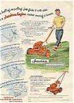 Click here to enlarge image and see more about item Lawn01: Jacobsen Power mower 1951Cute boy mowing