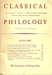Click here to enlarge image and see more about item M6774: Classical Philology - Quarterly Journal October 1964