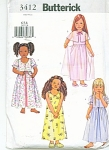 Click here to enlarge image and see more about item 3412: BUTTERICK GIRL SLEEPWEAR PATTERNS