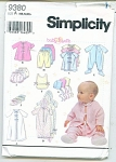 Click to view larger image of SIMPLICITY BABY PATTERNS  9380 (Image1)
