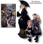 Click here to enlarge image and see more about item 001A: RENOIR~UMBRELLA GIRLS~3 DOLL SET~USHS~RARE