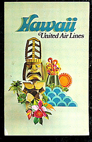 1950s United Airlines Hawaii Advertising Postcard