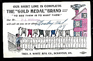 1907 Gold Medal Shirts Advertising Postcard