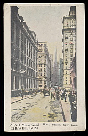 Zeno Chewing Gum Wall Street Advertising Postcard