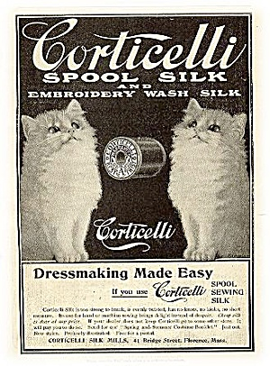 """Corticelli Silk"" 1903 Kittens Advertisement (Image1)"