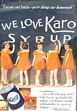 1937 Karo Syrup Dionne Quintuplets Advertisement (Image1)
