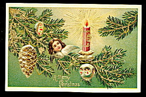 Christmas Angel W Ornaments, Pine Cone 1907 Postcard