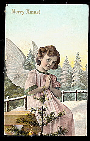 Merry Christmas Girl Angel 1909 Postcard (Image1)