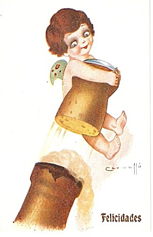1907 E Cervello 'Felicidades' Angel Child Postcard (Image1)