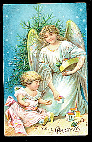 A Merry Christmas Angel & Child 1908 Postcard