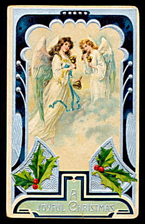 Gorgeous Christmas Angels 1908 Postcard (Image1)