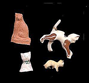 4 Small Vintage Cats - Bisque/terra Cotta/porcelain