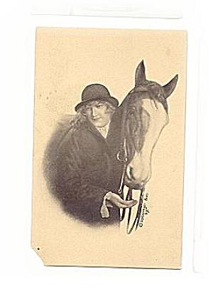 1907 Schlesinger Bros Girl & Horse Postcard (Image1)
