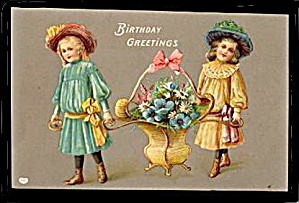 Gorgeous EAS Germany Girls Carrying Basket Postcard (Image1)