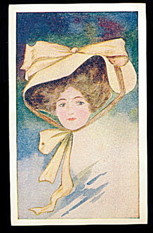 1907 Woman In Large Hat Postcard
