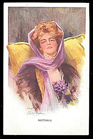 1910 Philip Boileau 'nocturne' Pretty Girl Postcard