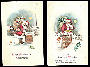 2 Santa Claus With Chimneys 1923 Postcards