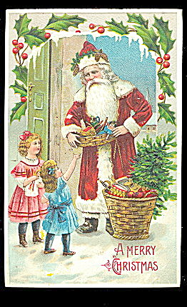 1908 Santa Claus With Children Postcard