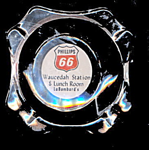 Vintage Glass Phillips 66 Oil/gas Ashtray
