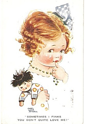 Mabel Lucie Attwell Girl 'Sometimes I Think..' Postcard (Image1)