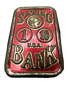 Old Metal Dime Saving Bank - Usa - Circa 1910