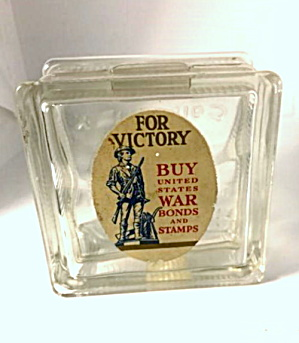 "1940s ""for Victory"" War Bonds Glass Bank"