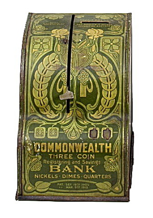 1915 Commonwealth 3 Coin Cash Register Bank