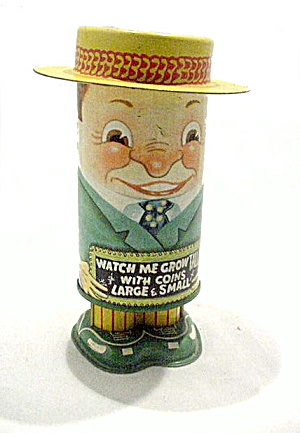 1950s Watch Me Grow Tall Apex Novelty Mechanical Tin