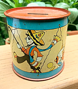 Vintage Tin Litho Mexican Piñata Drum Bank Ohio Art