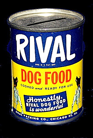 Vintage Rival Dog Food Can Tin Bank