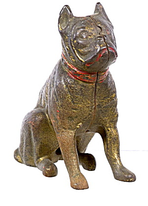 1912 Hubley Cast Iron Boxer Dog Bank