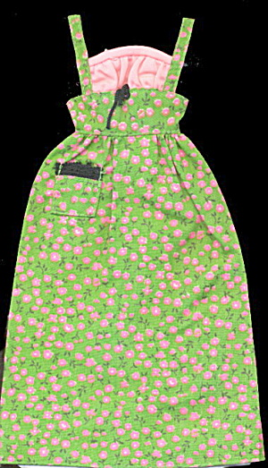 1975 Barbie 7416 Green Calico Peasant Dress
