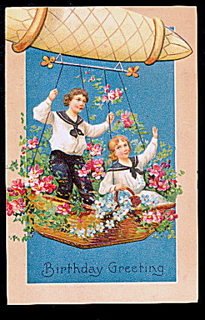 Children In Hot Air Balloon Greetings 1907 Postcard