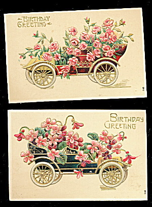 2 1908 Birthday Floral Automobiles Postcards