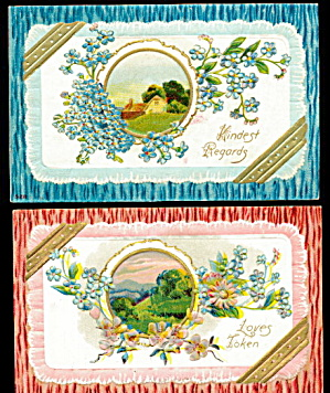 2 Greetings With Ribbons 1908 Postcards