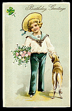 Little Boy With Dog 1908 Birthday Greetings Postcard