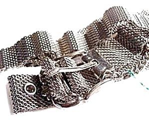 """Lovely Vintage 32"""" Mesh Silvertone Belt (Image1)"""