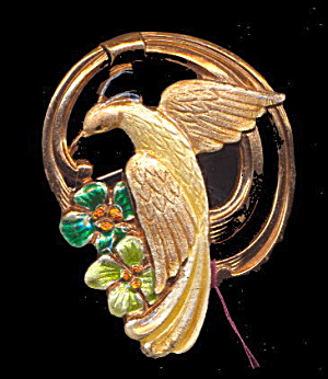 Lovely Yellow Bird On Swing Brooch