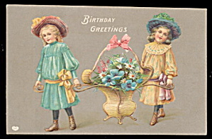 Girls Holding Flower Basket Birthday Greetings Postcard (Image1)