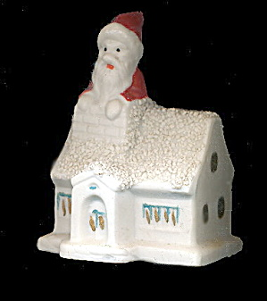 Vintage Japan (1920s-1930s) Bisque Santa Claus On House