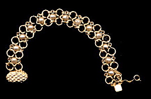 Lovely Goldtone Chain with Faux Pearl Bracelet (Image1)