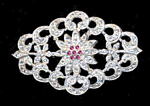 Vintage Diamond Shaped Rhinestone With Pink Brooch (Image1)