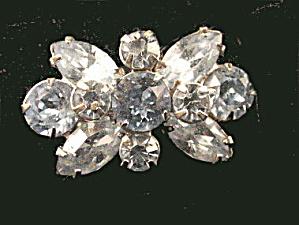 """Vintage 1 1/4"""" White Rhinestone Pin (Image1)"""