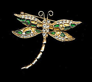 Lovely Vintage Butterfly Brooch with Glass Stones (Image1)